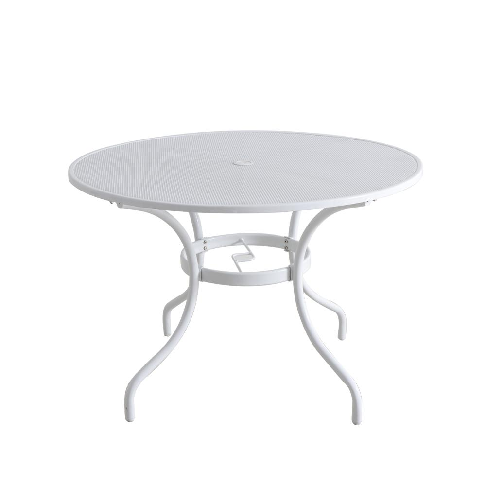 Lattice White Round Metal Outdoor Dining Table With