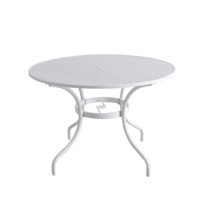 42 in. Mix and Match Lattice White Mesh Metal Round Outdoor Patio Dining Table