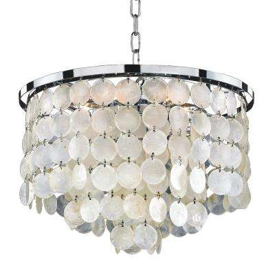 Bayside 6-Light Capiz Shell and Chrome Chandelier