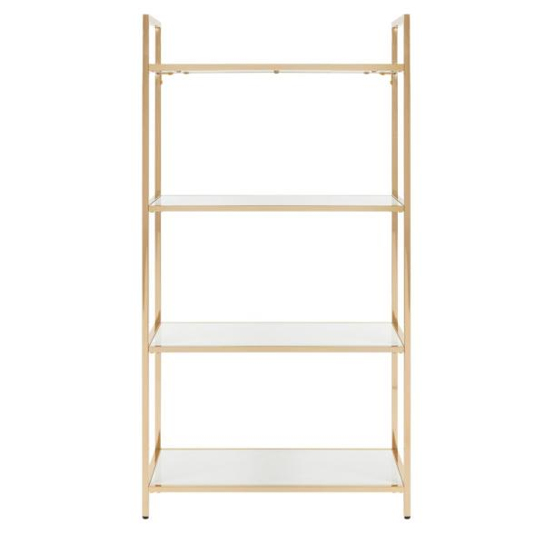 60 in. White/Gold Metal 4-shelf Etagere Bookcase with Open Back
