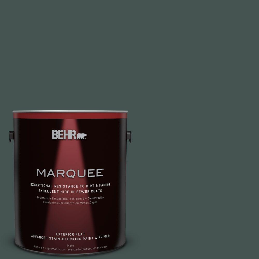 1-gal. #MQ6-44 Black Evergreen Flat Exterior Paint
