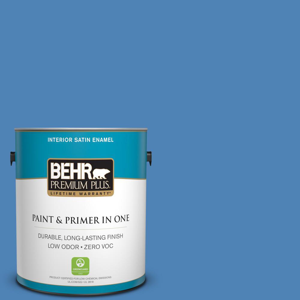 1 gal. #PPU15-06 Neon Blue Zero VOC Satin Enamel Interior Paint