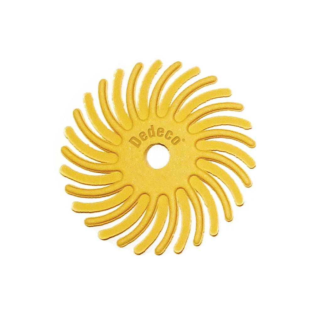 Dedeco Sunburst 1 in. Radial Discs - 1/8 in. Standard 220-Grit Arbor Rotary Cleaning and Polishing Tool (48-Pack)