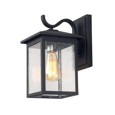1-Light Aluminium Black Outdoor Wall Mount Lantern with Seeded Glass