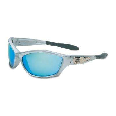HD1000 Series Safety Glasses with Blue Mirror Tint Anti-Fog Hardcoat Lens and Silver Frame