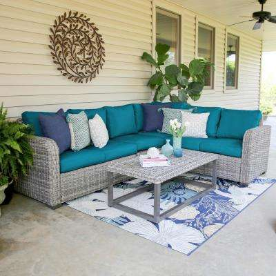 Forsyth 5-Piece Wicker Outdoor Sectional Set with Peacock Cushions