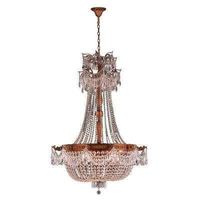 Winchester 12-Light French Gold with Clear Crystal Large Chandelier