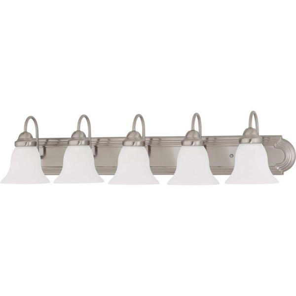 5-Light Brushed Nickel Vanity Light with Frosted White Glass