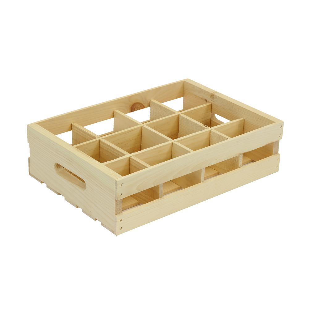 Crates & Pallet 12-Grid Wood Crate Divided Insert Unfinished-69012 ...
