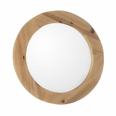 Turin 18.00 in. W x 18.00 in. H Framed Round Bathroom Vanity Mirror in Natural