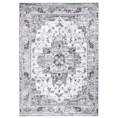 Traditional Distressed Medallion Gray 3 ft. 3 in. x 5 ft. Area Rug