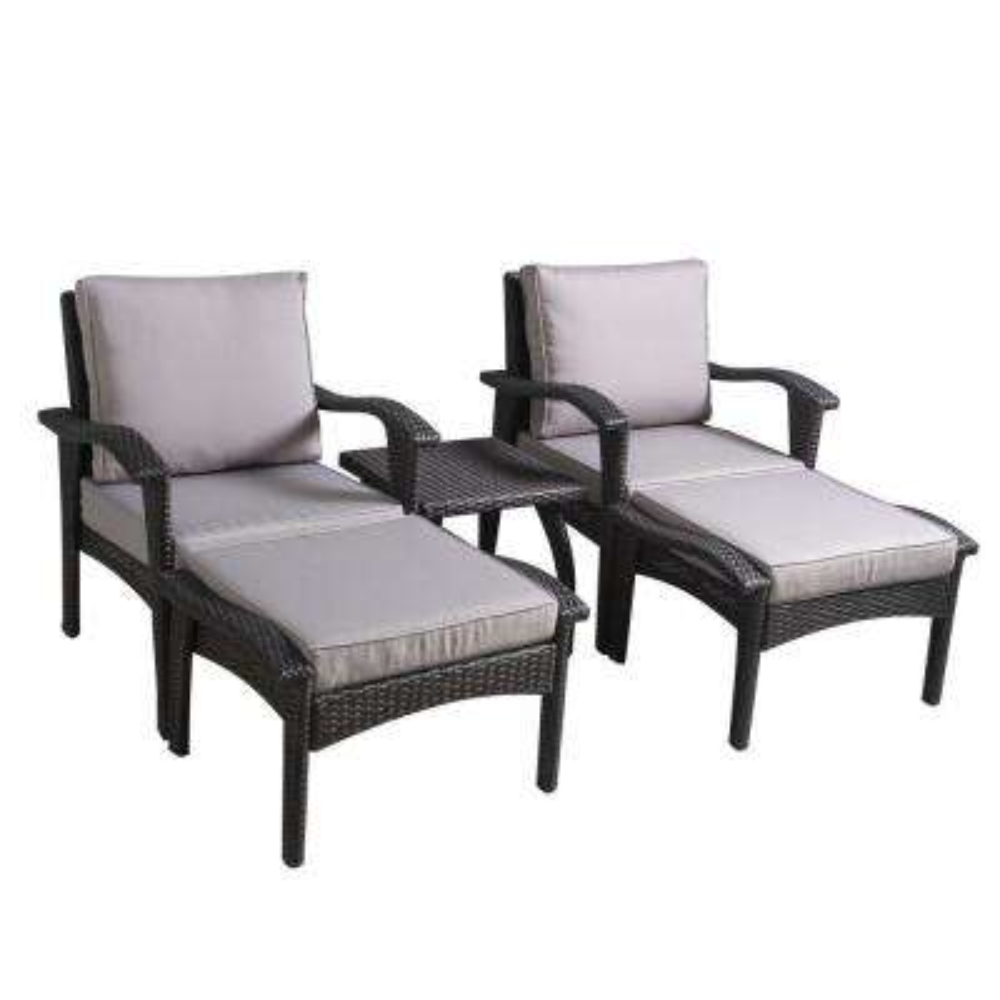 Honolulu Grey 5-Piece Wicker Patio Conversation Set with Silver Grey Cushions