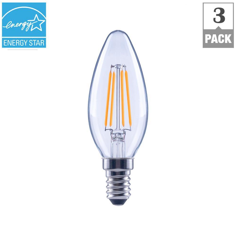 60-Watt Equivalent B11 E12 Base Dimmable Clear Filament LED Light Bulb, Soft White (3-Pack)