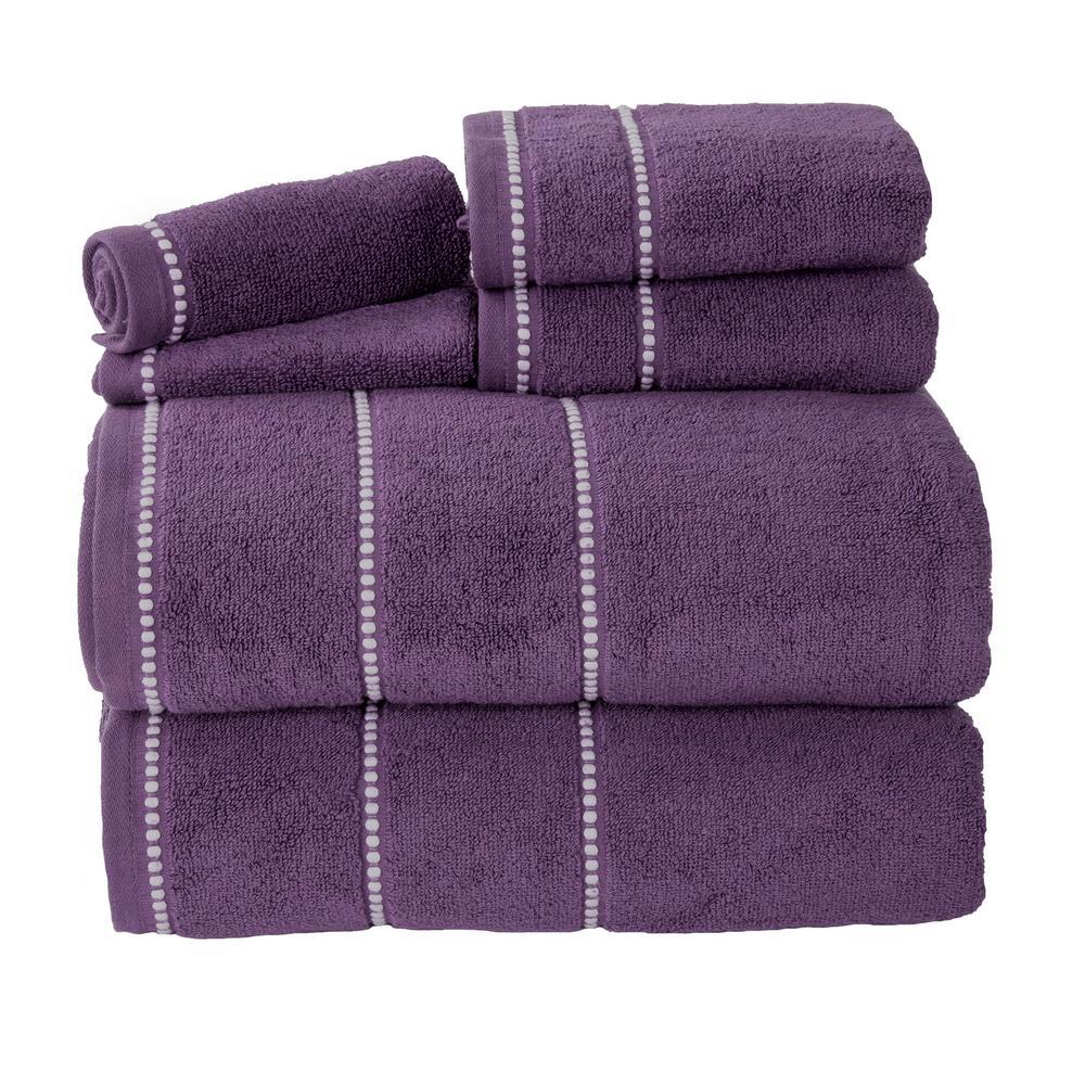 Zero Twist Quick Dry 6 Piece Eggplant Solid Cotton Bath Towel Set