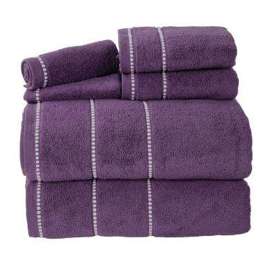 6-Piece 100% Cotton Zero Twist Quick Dry Bath Towel Set in Eggplant