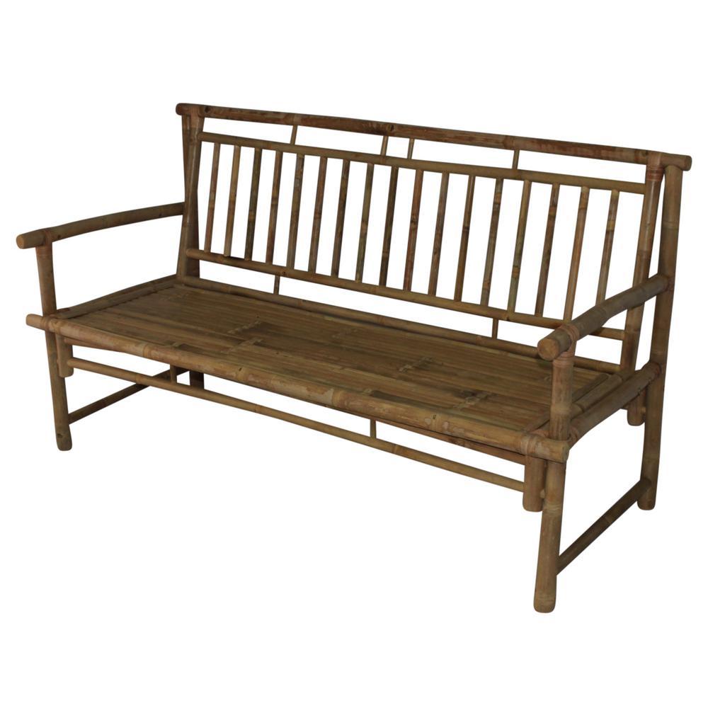 Mgp 55 In W X 21 5 D 33 H Standard Slat Back Bamboo Bench