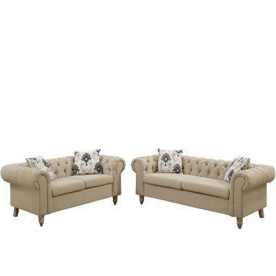 Brindisi 2-Piece Sand Sofa Set