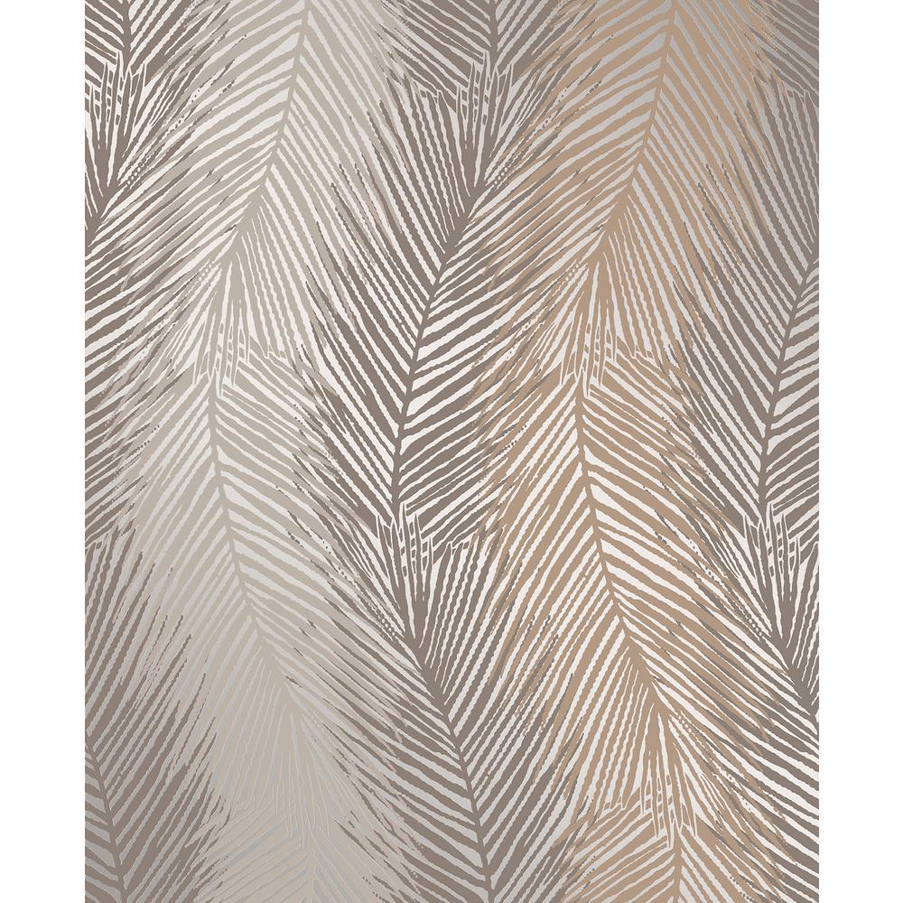 Wheaton Bronze Leaf Wave Wallpaper Sample