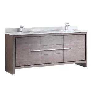 Fresca Allier 72 inch Double Vanity in Gray Oak with Glass Stone Vanity Top in White with White Basin by Fresca
