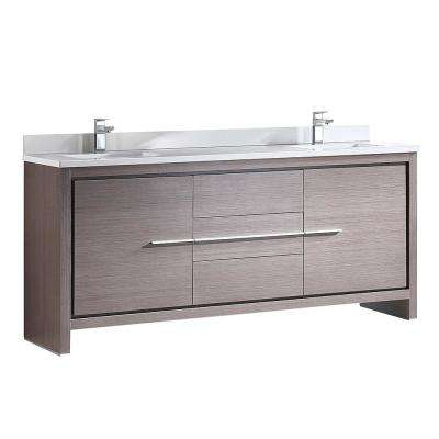 Allier 72 in. Double Vanity in Gray Oak with Glass Stone Vanity Top in White with White Basin