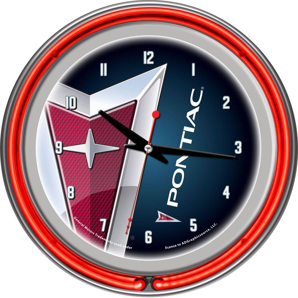 Trademark Global Pontiac Chrome Double Ring Neon Clock