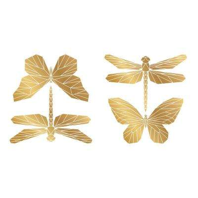 Gold Polygonal Butterflies Wall Sticker Wall Decals (Set of 2)