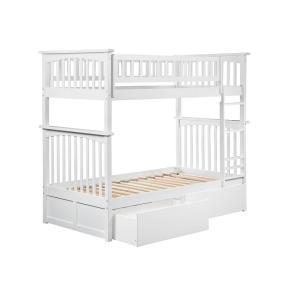Columbia Bunk Bed Twin over Twin with 2 Urban Bed Drawers in White