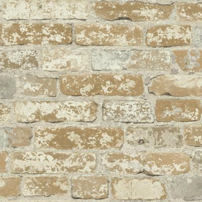 28.18 sq. ft. Stuccoed Brown Brick Peel and Stick Wallpaper