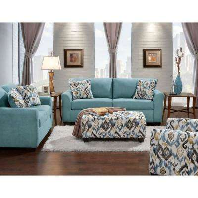 Carlisle 3 Piece Teal Sofa, Loveseat And Accent Chair Set