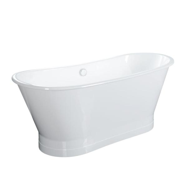 Wakely Extra Wide 67.325 in. Cast Iron Double Roll Top Flatbottom Non-Whirlpool Bathtub in White