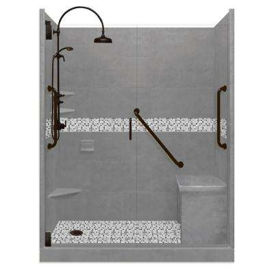 Del Mar Freedom Luxe Hinged 42 in. x 60 in. x 80 in. Left Drain Alcove Shower Kit in Wet Cement and BK Pipe Hardware