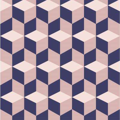 Debut Collection Cubular in Pink/Navy Removable and Repositionable Wallpaper
