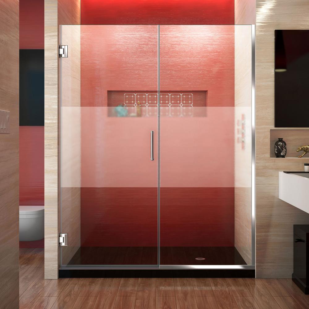 DreamLine Unidoor Plus 59.5 to 60 in. x 72 in. Frameless Hinged Shower Door in Chrome