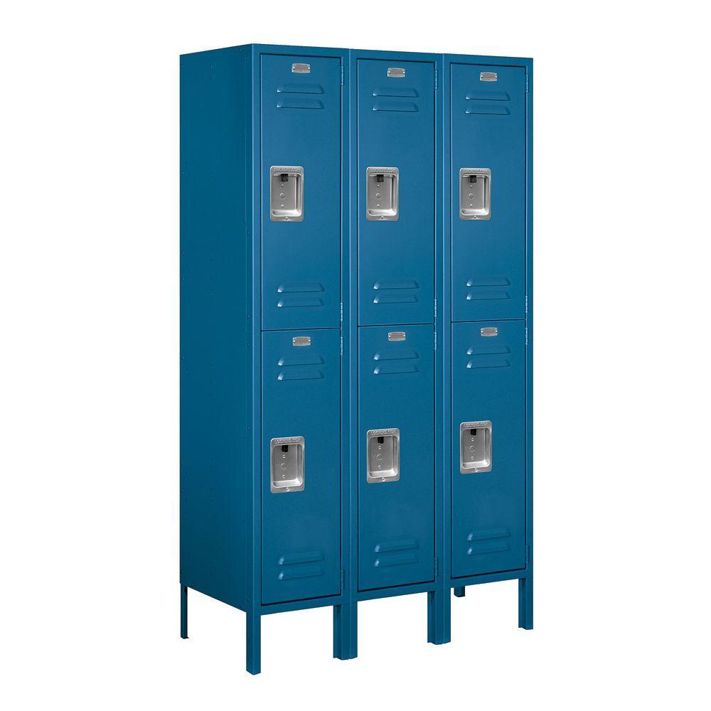 Salsbury Industries 62000 Series 36 in. W x 66 in. H x 15 in. D 2-Tier Metal Locker Unassembled in Blue