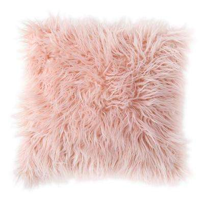 Morgan Home 18 in. Estelle Pink Faux Fur Throw Pillow Cover