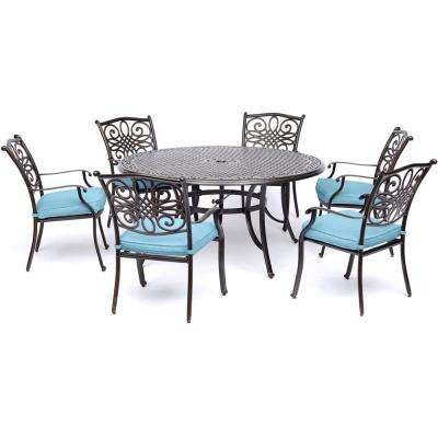 Traditions 7-Piece Aluminum Outdoor Dining Set with Blue Cushions and Cast-Top Table