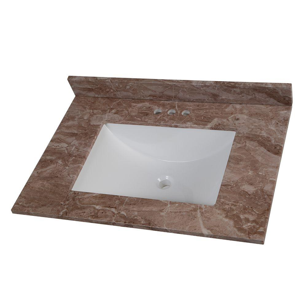 Home Decorators Collection 31 in. Stone Effects Vanity Top in Mayan Ivory with White Sink