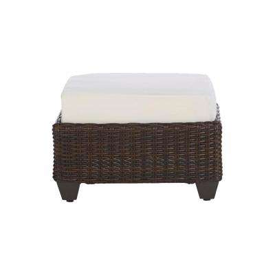 Mill Valley Brown Wicker Outdoor Patio Ottoman with Bare Cushions (2-Pack)