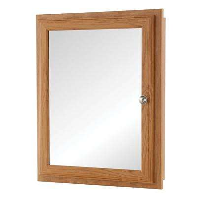 20-3/4 in. x 25-3/4 in. Fog Free Framed Recessed or Surface-Mount Bathroom Medicine Cabinet in Oak