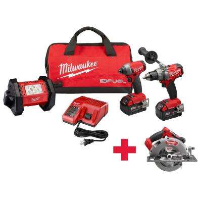 M18 FUEL ONE-KEY 18-Volt Lithium-Ion Brushless Cordless Hammer Drill/Impact Driver/Light Combo Kit W/ Free FUEL Circ Saw