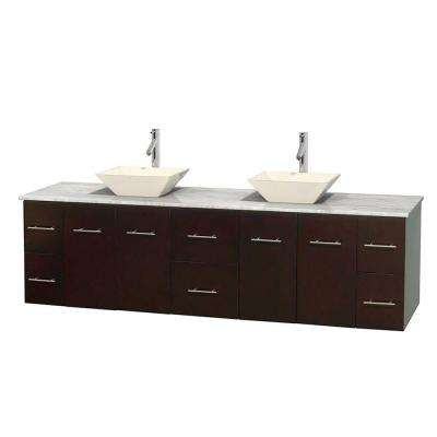 Centra 80 in. Double Vanity in Espresso with Marble Vanity Top in Carrara White and Bone Porcelain Sinks
