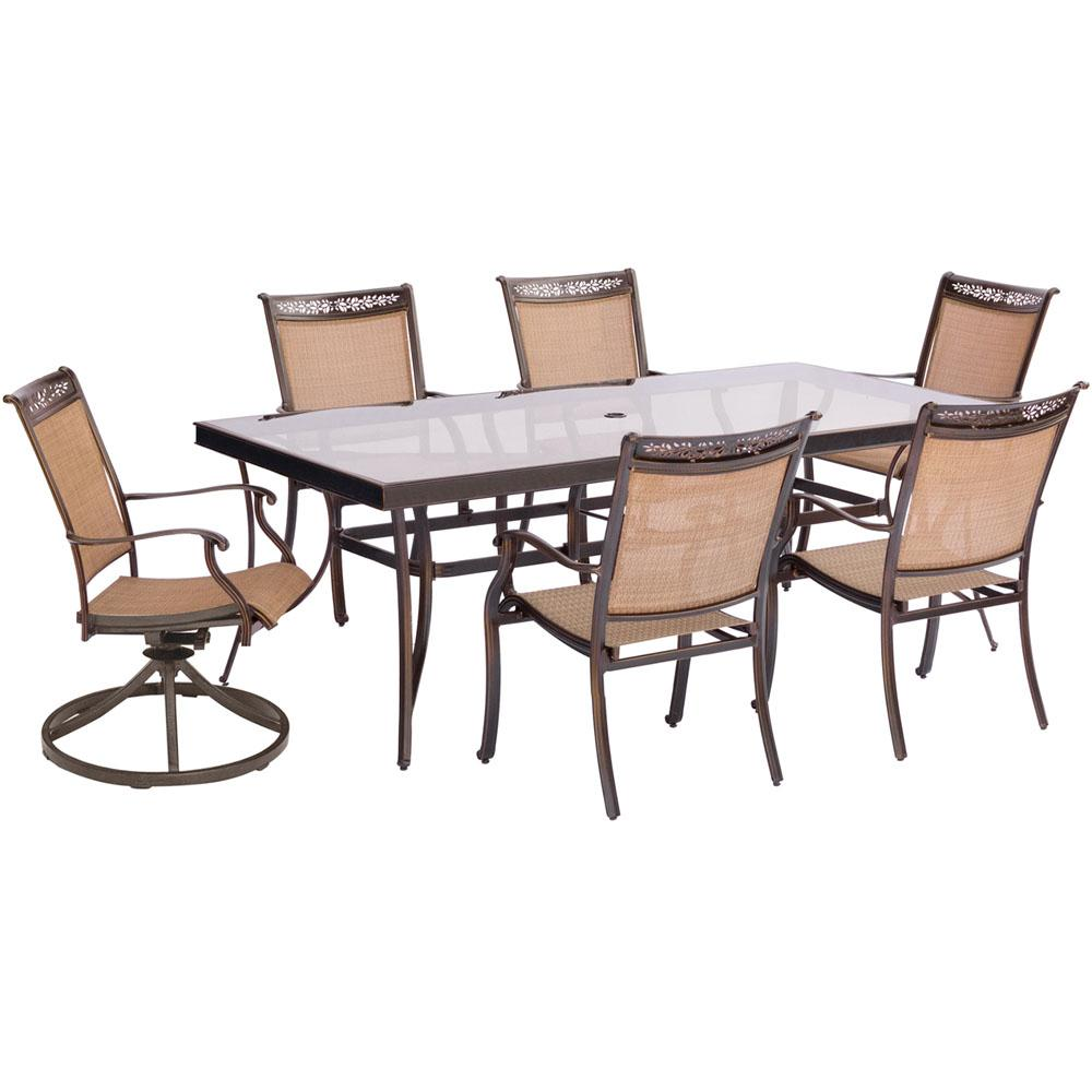 Hanover Fontana 7 Piece Aluminum Outdoor Dining Set With Rectangular Gl Top Table And