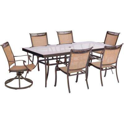 Fontana 7-Piece Aluminum Outdoor Dining Set with Rectangular Glass-Top Table and 2 Swivel Chairs