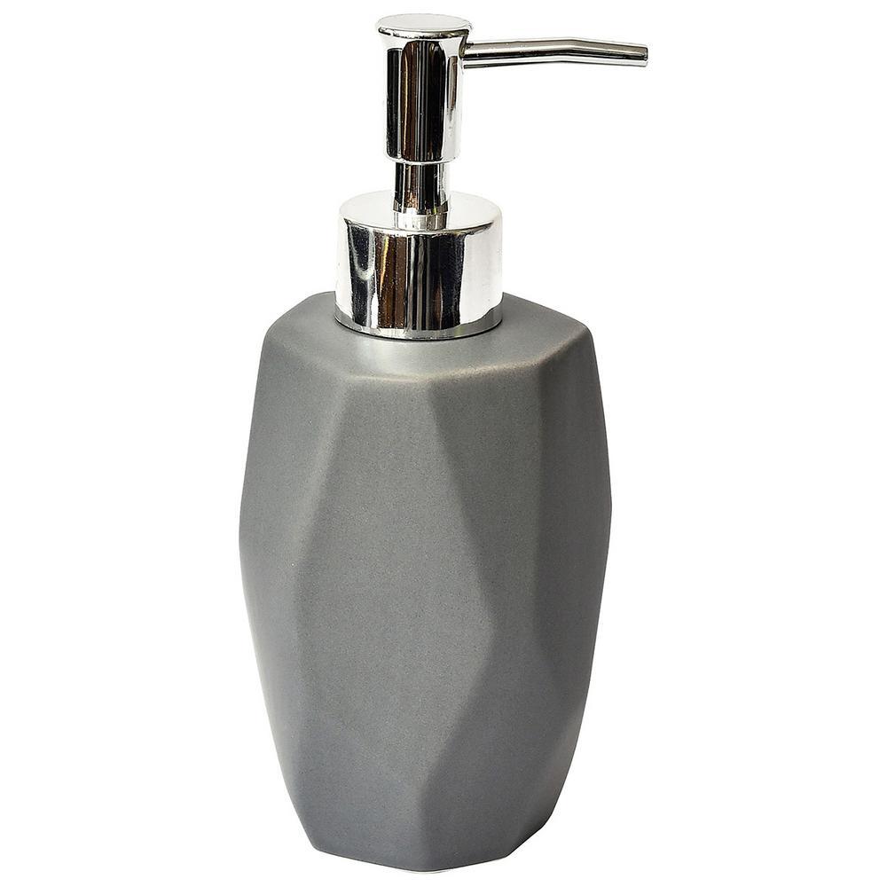 Collection Diamond Bath Soap and Lotion Dispenser Stoneware Grey