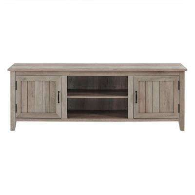 70 in. Grey Wash Modern Farmhouse Entertainment Center TV Stand Storage Console with Doors and Center Shelving