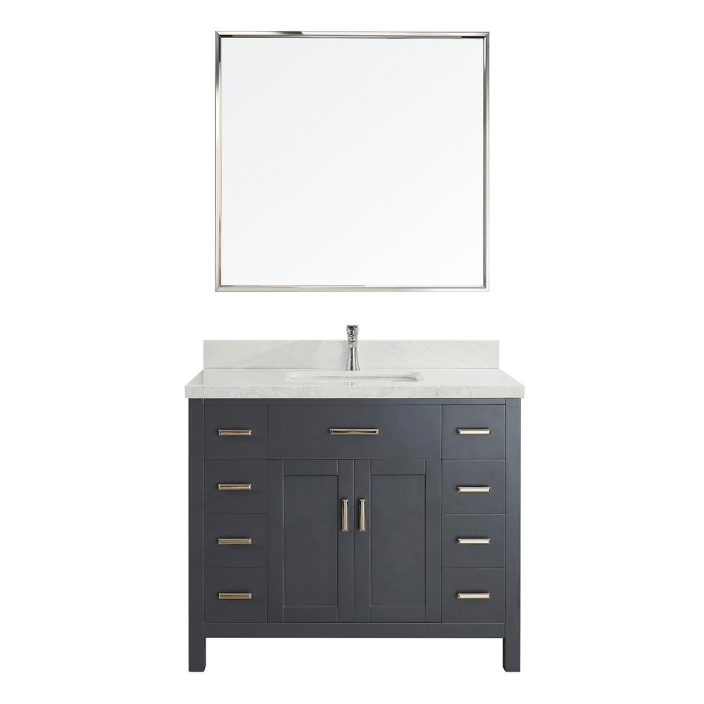 Studio Bathe Kalize II 42 in. W x 22 in. D Vanity in Pepper Gray with Engineered Vanity Top in White with White Basin and Mirror