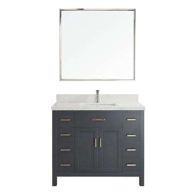 Kalize II 42 in. W x 22 in. D Vanity in Pepper Gray with Engineered Vanity Top in White with White Basin and Mirror