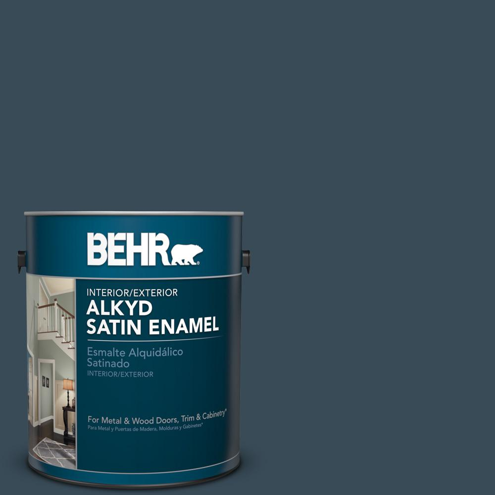 1 gal. #HDC-CL-28 Nocturne Blue Satin Enamel Alkyd Interior/Exterior Paint