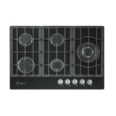 30 in. 5 Italy Sabaf Burners Gas Stove Cooktop Tempered Glass in Black