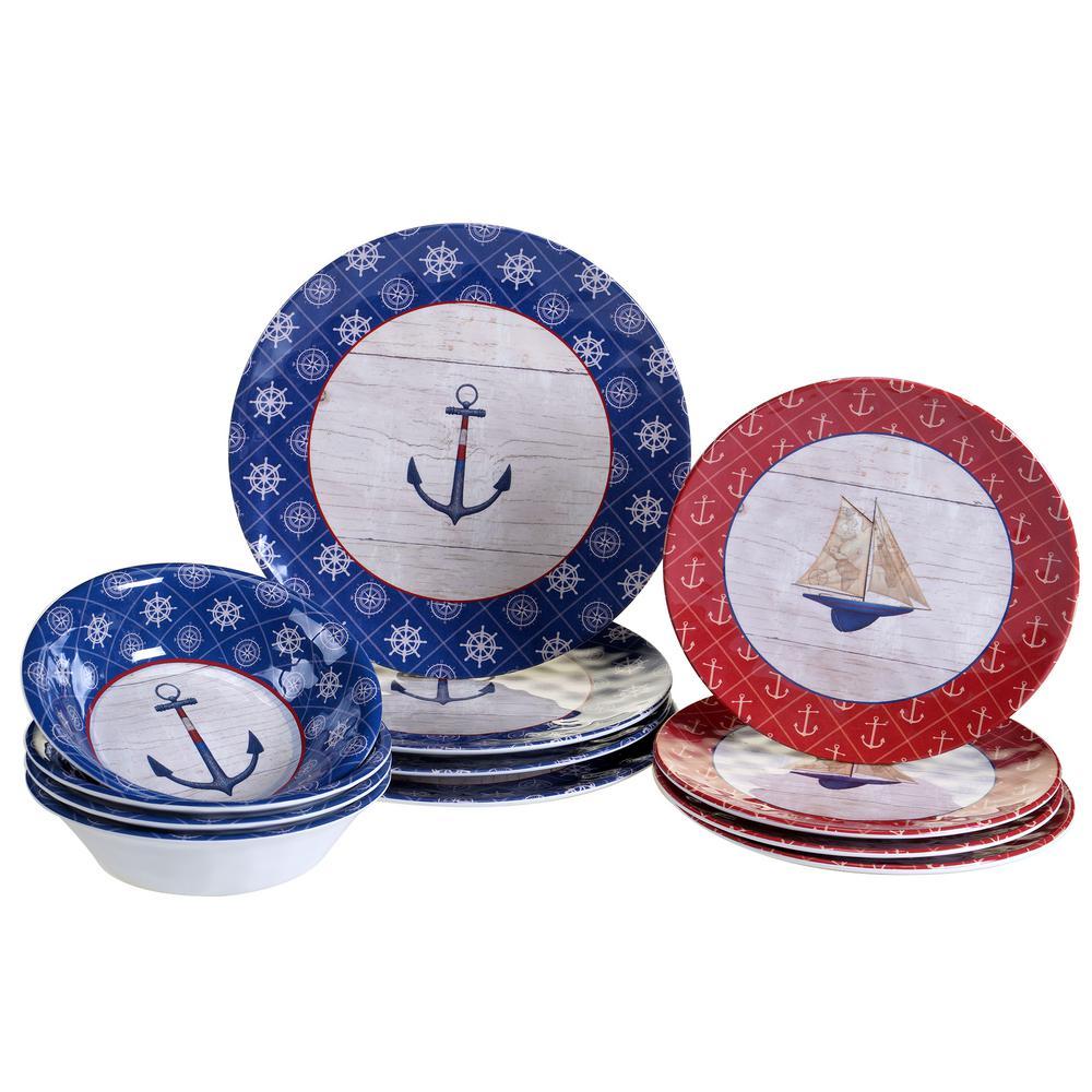 Nautique 12-Piece Blue Dinnerware Set